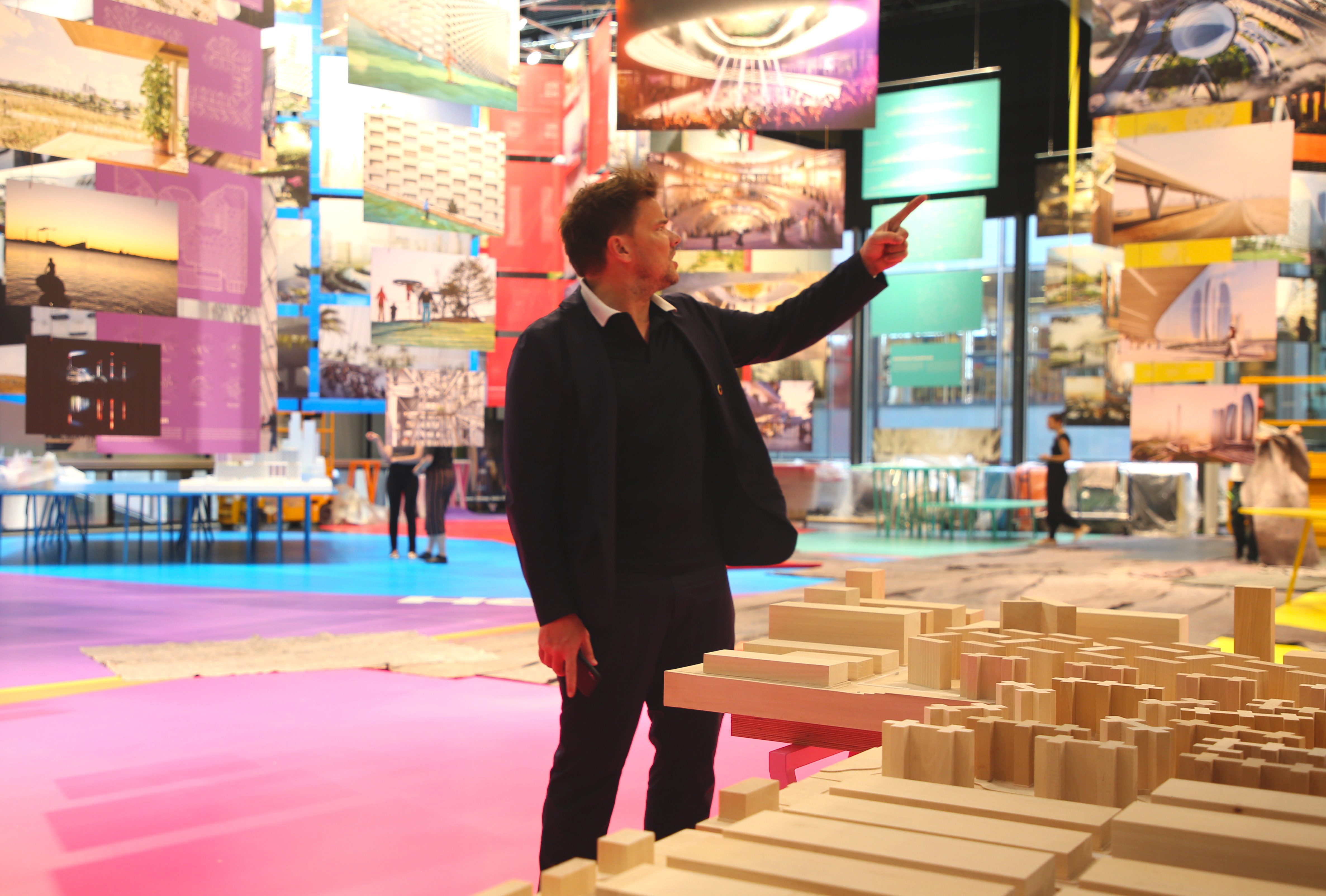 Bjarke in a sea of pink