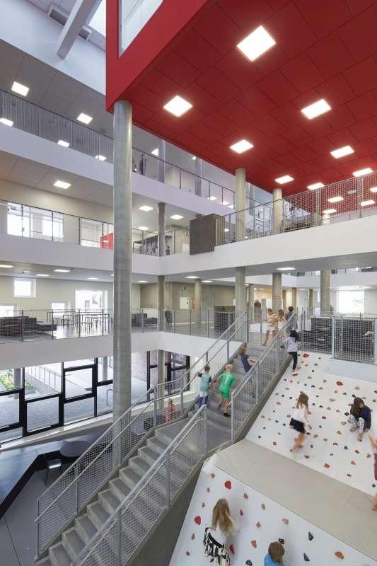 Climbing facilities accessible through the atrium.