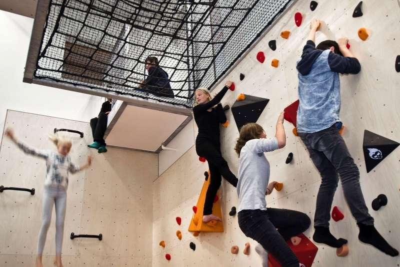 Rock climbing facilities inside the school