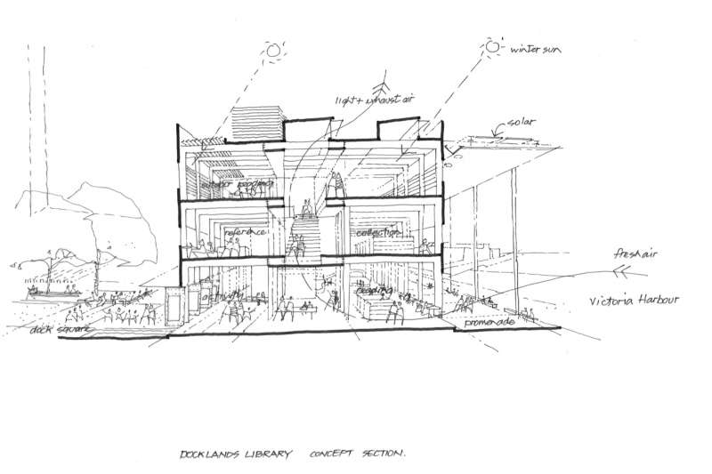 A concept sketch demonstrates the passive solar strategies employed across the building, including efforts to bring sun and breezes to the interior.