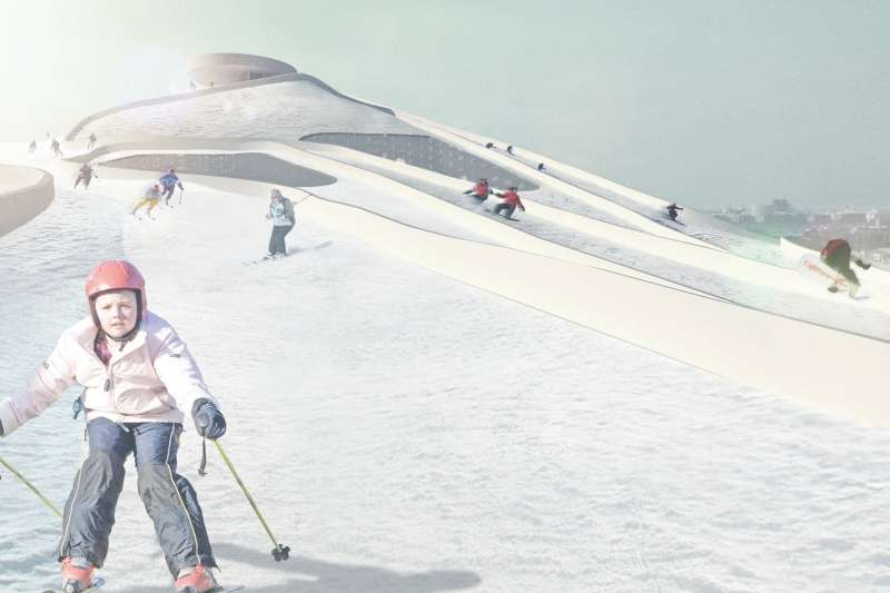 Illustration of the ski slope in action.