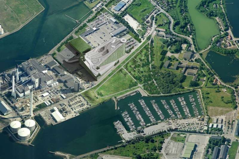 Illustration of Amager Bakke seen from the air